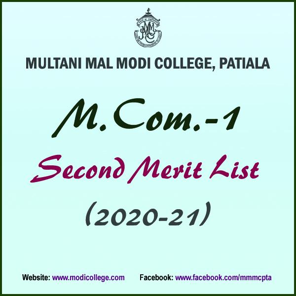 2nd Merit List MCom1