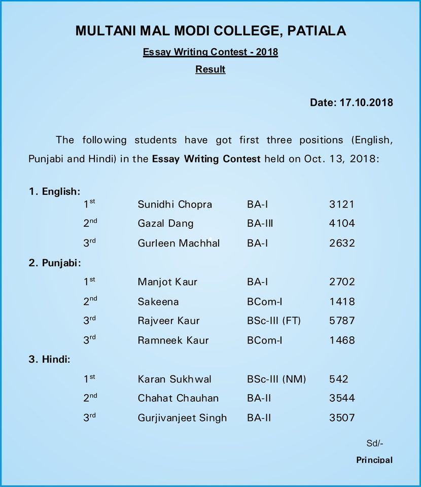 Essay Writing Results Oct18