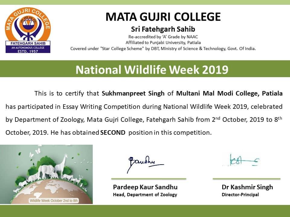 National WildLife Week 2019 Results