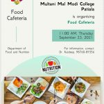 Food Cafeteria at College on Sept. 23, 2021